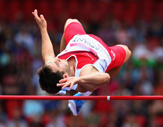 Ashley Bryant doing the high jump in the decathlon at the commonwealth games Glasgow 2014 (Getty Images)
