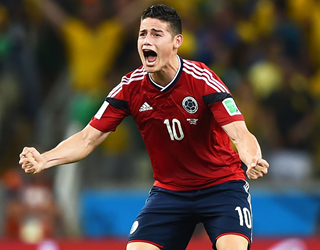 James Rodriguez celebrates for Colombia at the 2014 World Cup (Getty Images)