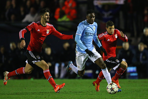 Devante Cole runs with the ball for Manchester City's Elite Development Squad (Getty Imgaes)