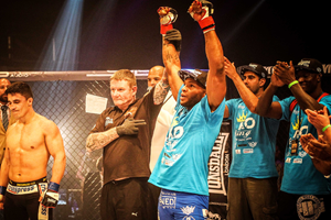 Paul Daley celebrates victory at BAMMA 16 (BAMMA/Burghleyimages.co.uk)