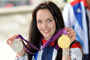 Olympic cycling gold medallist Victoria Pendleton poses with London 2012 medals  (Getty Images)